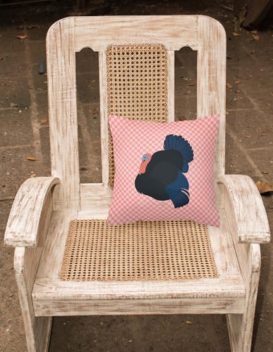 Norfolk Black Turkey Pink Check Fabric Decorative Pillow Perspective: back