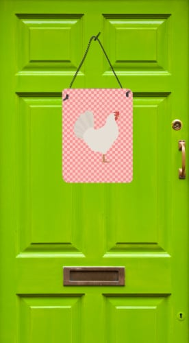 Leghorn Chicken Pink Check Wall or Door Hanging Prints Perspective: back