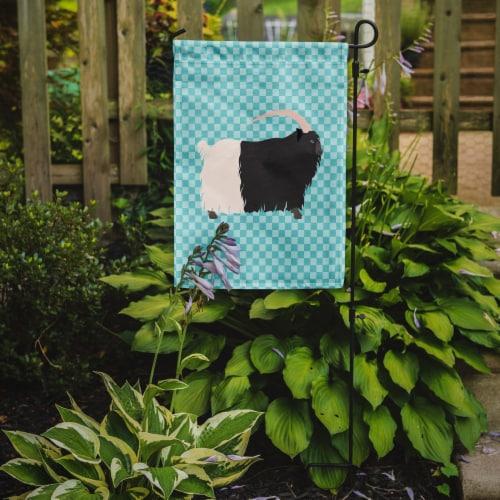 Welsh Black-Necked Goat Blue Check Flag Garden Size Perspective: back