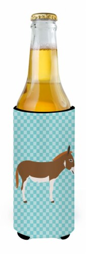 Miniature Mediterranian Donkey Blue Check Michelob Ultra Hugger for slim cans Perspective: back
