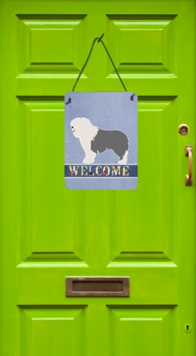 Old English Sheepdog Welcome Wall or Door Hanging Prints Perspective: back