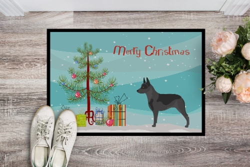 Australian Cattle Dog Christmas Indoor or Outdoor Mat 24x36 Perspective: back