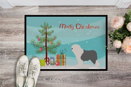 Old English Sheepdog Bobtail Christmas Indoor or Outdoor Mat 24x36 Perspective: back