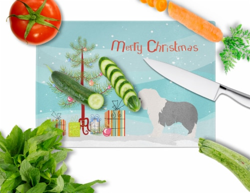 Old English Sheepdog Christmas Glass Cutting Board Large Perspective: back
