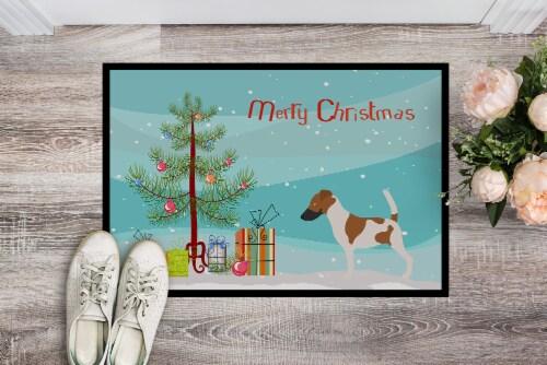 Smooth Fox Terrier Christmas Indoor or Outdoor Mat 18x27 Perspective: back