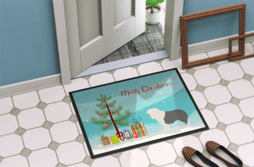 Old English Sheepdog Christmas Indoor or Outdoor Mat 18x27 Perspective: back