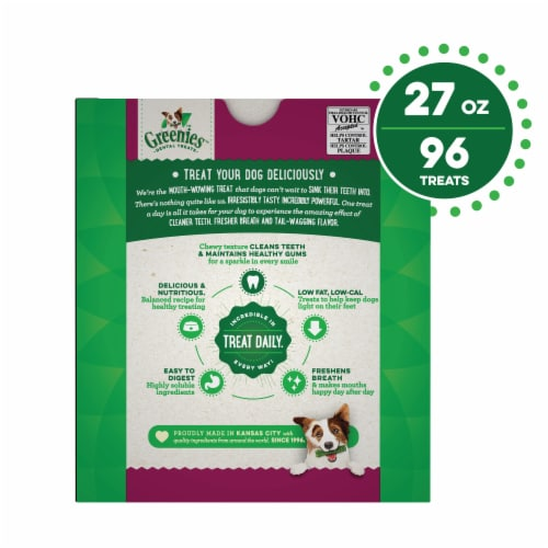 Greenies Weight Management Teenie Dog Dental Treats Perspective: back