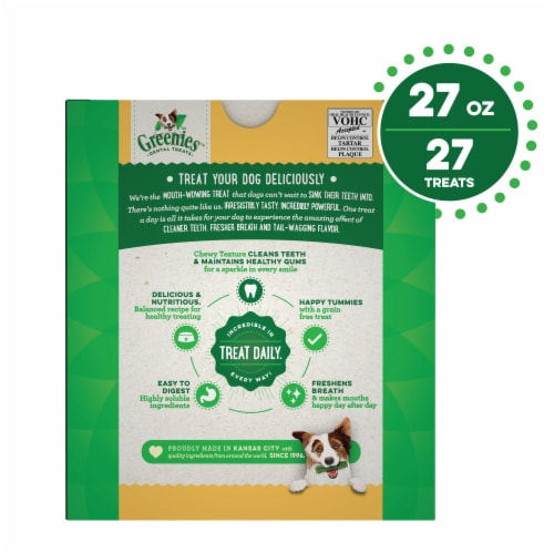 Greenies Grain Free Regular Dog Dental Treats Perspective: back