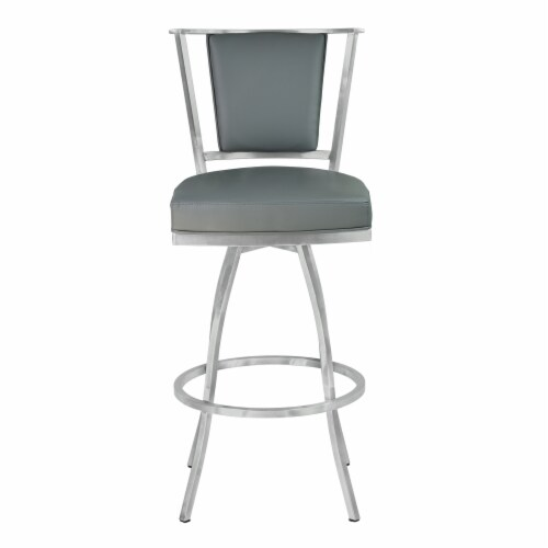 30  Barstool in Gray Faux Leather with Brushed Stainless Steel Finish and Walnut Veneer Back Perspective: back