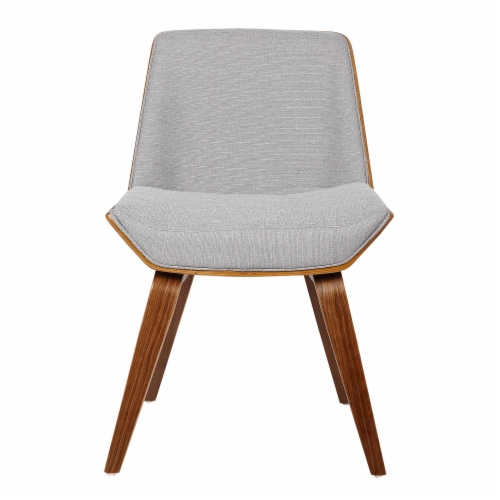 Armen Living Agi Mid-Century Dining Chair in Walnut Wood and Gray Fabric Perspective: back