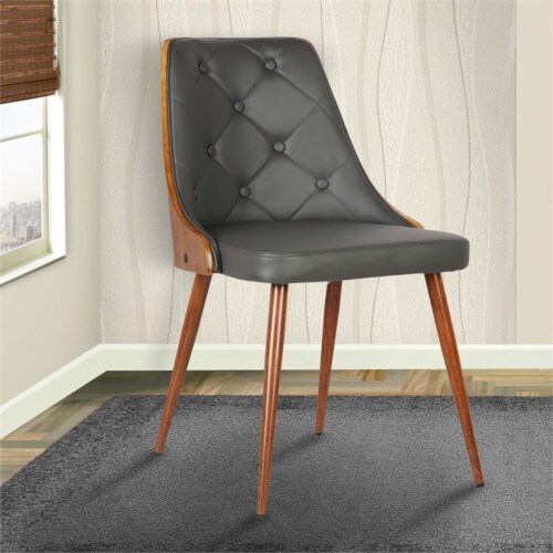 Armen Living Lily Dining Chair in Walnut and Gray Perspective: back