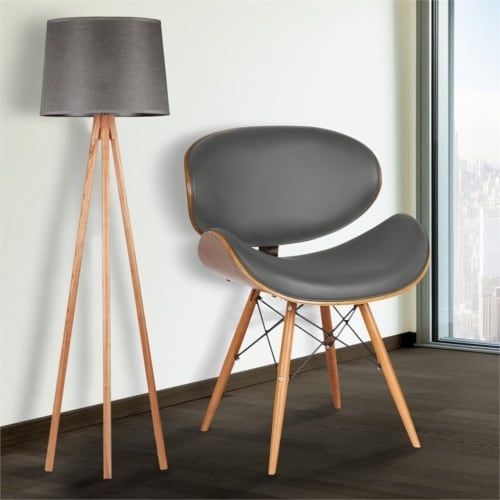 Armen Living Cassie Dining Chair in Walnut and Gray Perspective: back