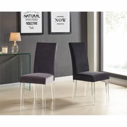 Armen Living Dalia Velvet Upholstered Dining Chair in Black (Set of 2) Perspective: back