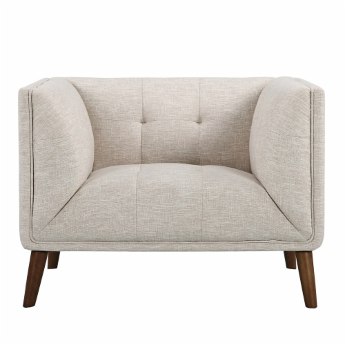 Armen Living Hudson Mid-Century Button-Tufted Chair in Beige Linen and Walnut Legs Perspective: back