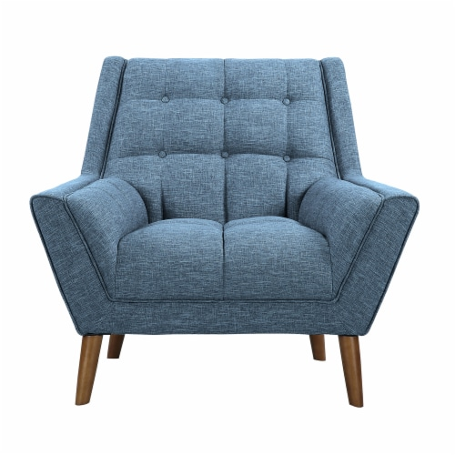 Armen Living Cobra Mid-Century Modern Chair in Blue Linen and Walnut Legs Perspective: back