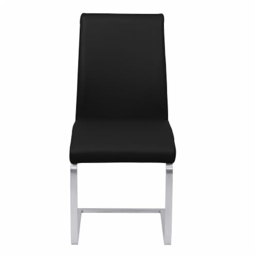 Blanca Dining Chair in Black Faux Leather with Brushed Stainless Steel Finish - Set of 2 Perspective: back