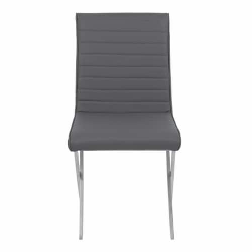 Tempe Dining Chair in Gray Faux Leather with Brushed Stainless Steel Finish - Set of 2 Perspective: back