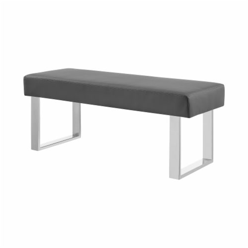 Armen Living Amanda Contemporary Dining Bench in Gray Faux Leather and Chrome Finish Perspective: back