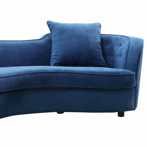 Armen Living Palisade Contemporary Sofa in Blue Velvet with Brown Wood Legs Perspective: back