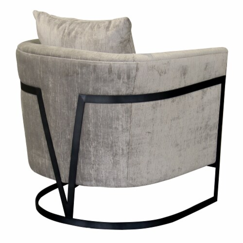 Armen Living Swan Contemporary Accent Chair with Black Iron Finish and Beige Fabric Perspective: back
