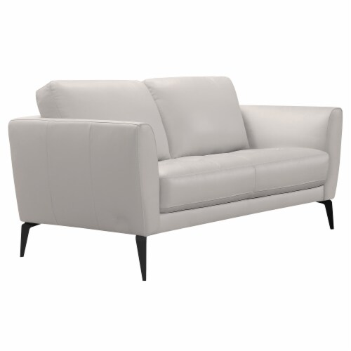Armen Living Hope Contemporary Loveseat in Genuine Dove Grey Leather with Black Metal Legs Perspective: back