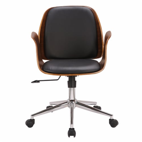 Armen Living Santiago Faux Leather Swivel Office Chair in Black Perspective: back