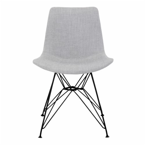 Armen Living Palmetto Upholstered Dining Side Chair in Gray Perspective: back