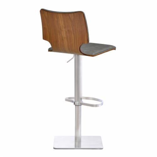 Barstool in Brushed Stainless Steel with Vintage Grey Faux Leather and Walnut Wood Back Perspective: back