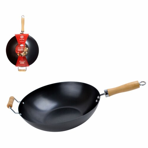 Alpine Cuisine AI-V34 13.5 Inch Carbon Steel Cooking Wok with Wood Handle, Black Perspective: back