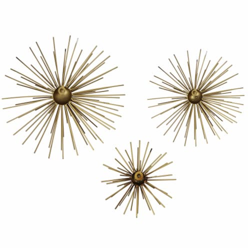 Stratton Home Decor Modern Metallic Starburst Accent Wall Art, Set of 3, Gold Perspective: back