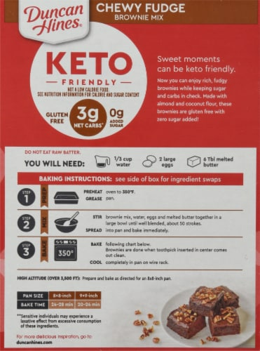 Duncan Hines Keto Friendly Chewy Fudge Brownie Mix Perspective: back