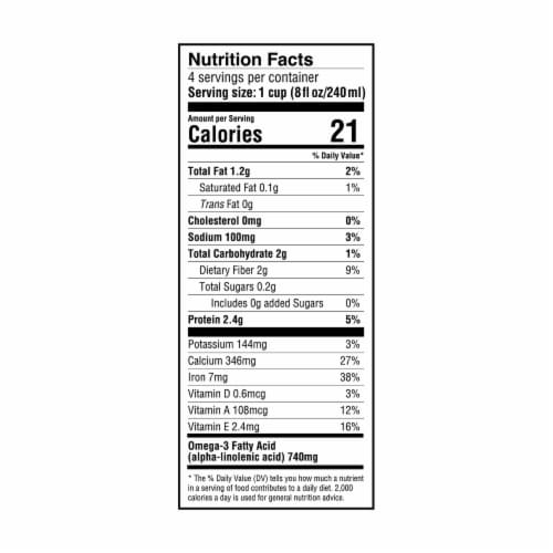 Seeds of Wellness Chia Unsweetened Original Non-Dairy Beverage Perspective: back