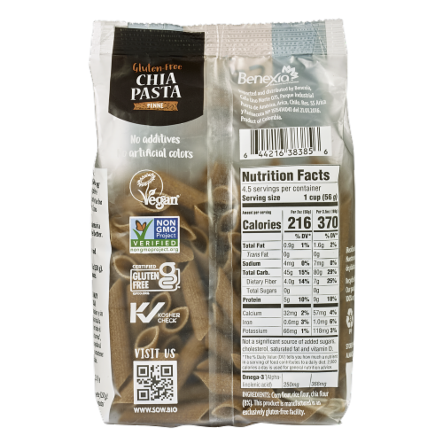 Seeds of Wellness Gluten Free Chia Penne Pasta Perspective: back