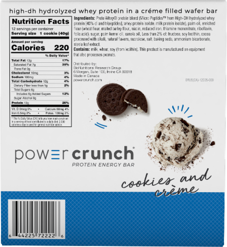 Power Crunch Original Cookies & Creme Protein Energy Bar Perspective: back