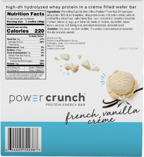 Power Crunch French Vanilla Creme Protein Energy Bar Perspective: back