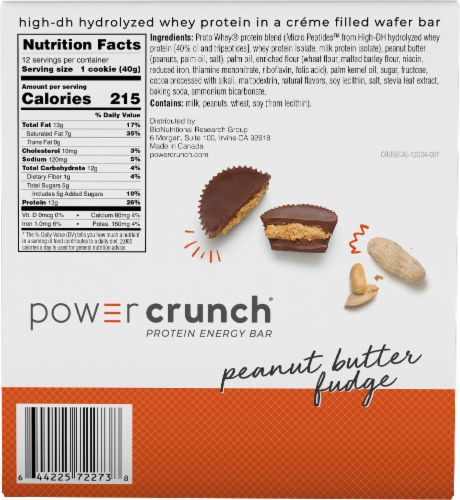 Power Crunch Peanut Butter Fudge Protein Energy Bar Perspective: back