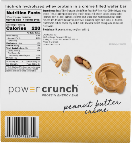 Power Crunch Peanut Butter Creme Energy Bars Perspective: back