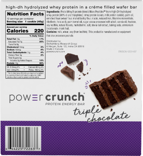 Power Crunch Triple Chocolate Protein Energy Bars 12 Count Perspective: back