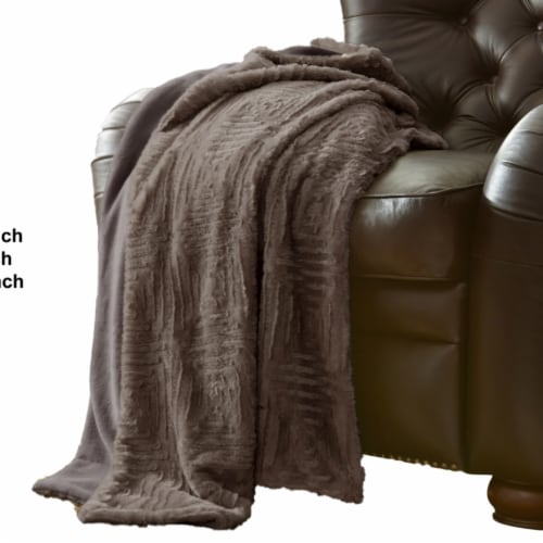 Treviso Faux Fur Throw with Fret Pattern The Urban Port, Gray, Saltoro Sherpi Perspective: back