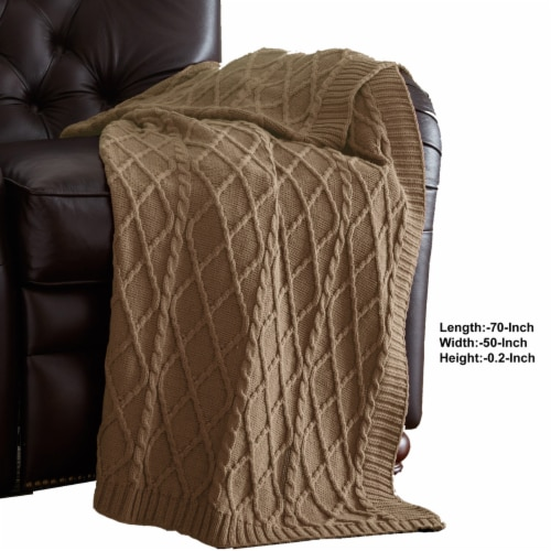 Creuse Cable Knitted Cotton Throw with Diamond Pattern The Urban Port, Brown, Saltoro Sherpi Perspective: back