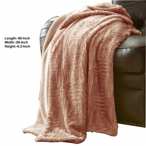 Treviso Faux Fur Throw with Fret Pattern The Urban Port, Pink, Saltoro Sherpi Perspective: back