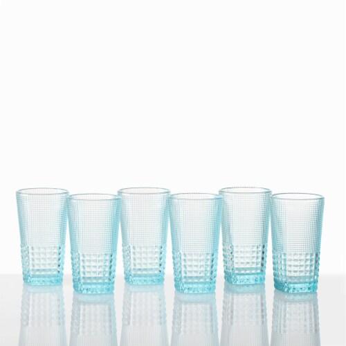 FORTESSA D&V Malcolm Iced Beverage Cocktail Glasses - 6 Pack - Pool Blue Perspective: back