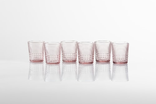 FORTESSA D&V Malcolm Double Old-Fashioned Beverage Glasses - 6 Pack - Pink Perspective: back