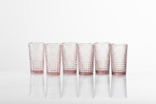 FORTESSA D&V Malcolm Iced Beverage Cocktail Glasses - 6 Pack - Pink Perspective: back
