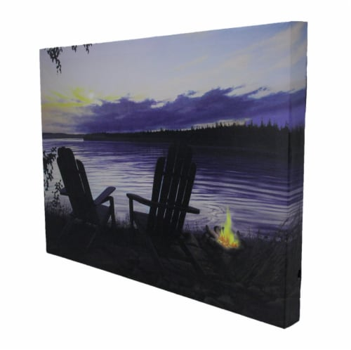 Lighted Canvas Otter Way Fish Shore by Cherie Serrano Perspective: back