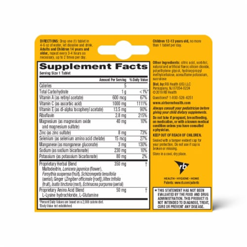 Airborne Zesty Orange Vitamin C 1000mg Immune Support Supplement Effervescent Tablets Perspective: back