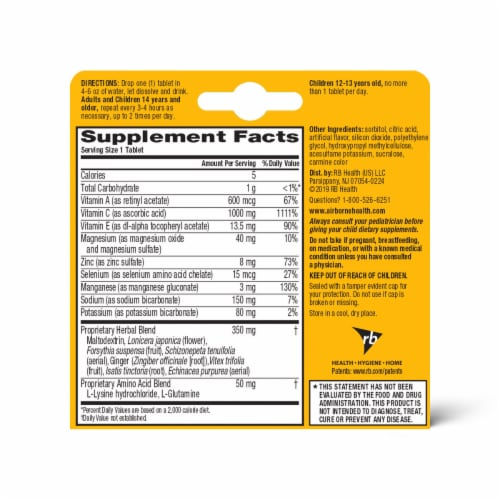 Airborne Very Berry Vitamin C Immune Support Supplement Effervescent Tablets 1000mg Perspective: back