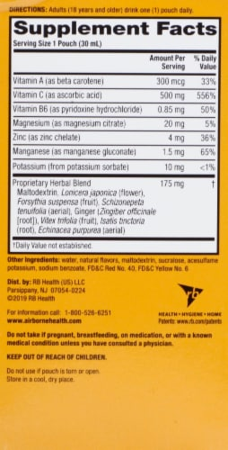 Airborne Immune & Natural Energy Support Liquid Shot 10 Count Perspective: back