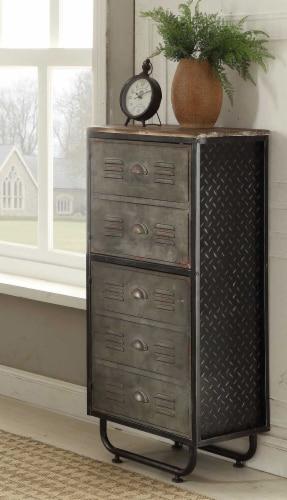 4D Concepts Urban Loft Locker 2 Door Metal Bookcase in Black and Gray Perspective: back