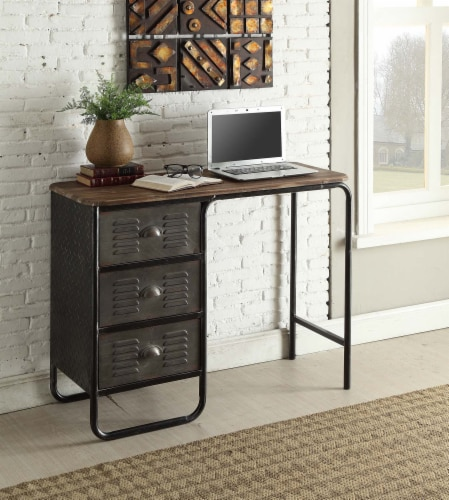 4D Concepts Urban Loft Locker 3 Drawer Metal Writing Desk in Black and Gray Perspective: back